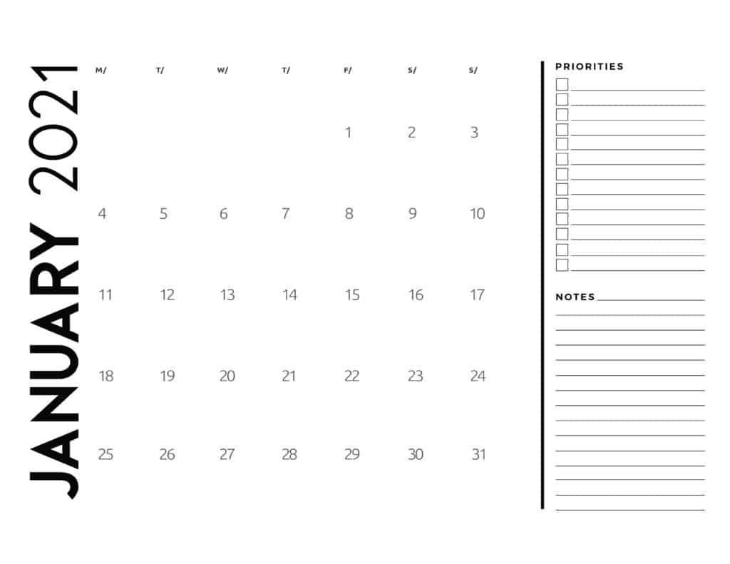 Free 2021 Calendar Priorities And Notes - World Of Printables