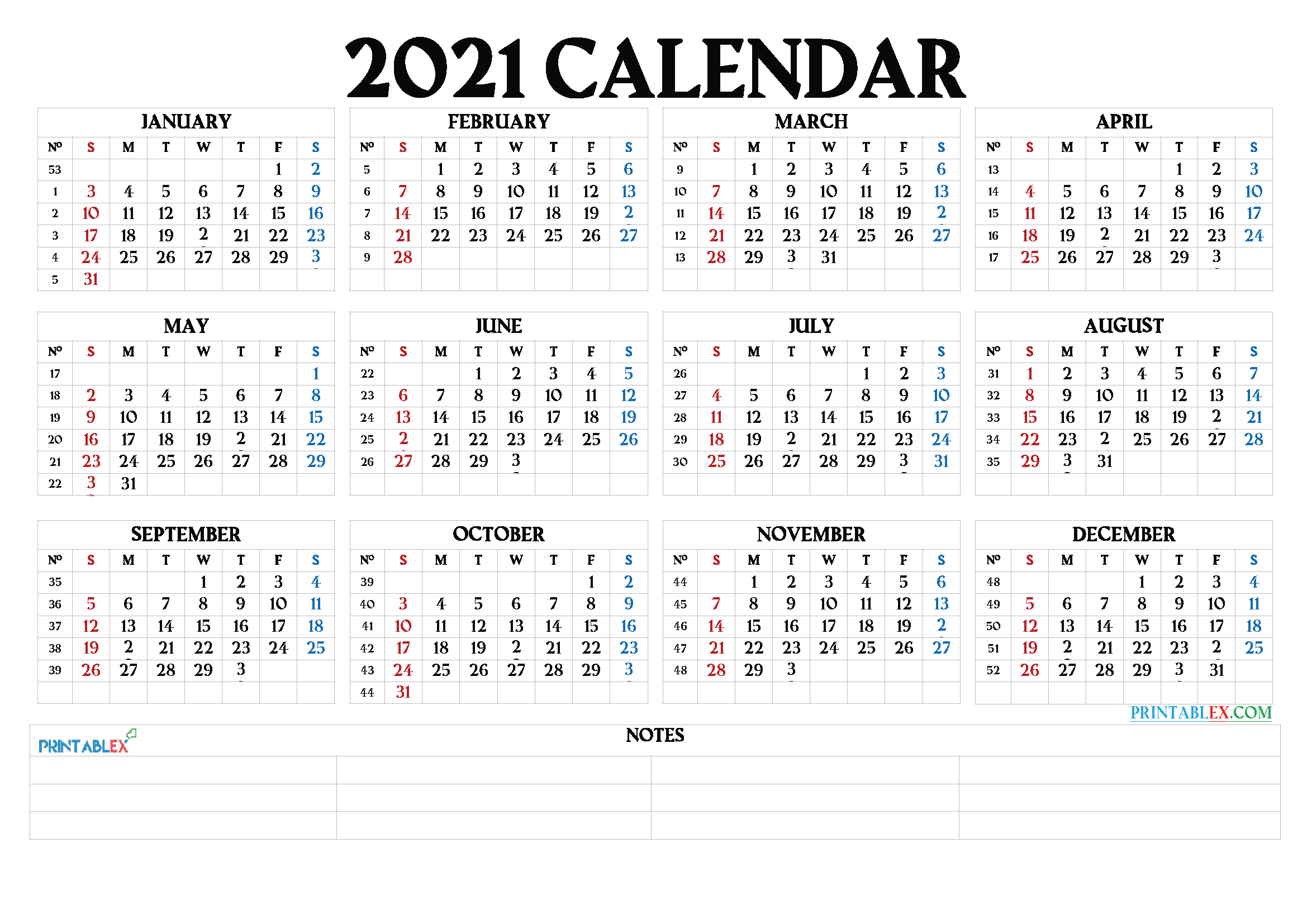 Free 2021 Yearly Calender Template - 2021 Printable Yearly Calendar Free Hipi Info : Below Are