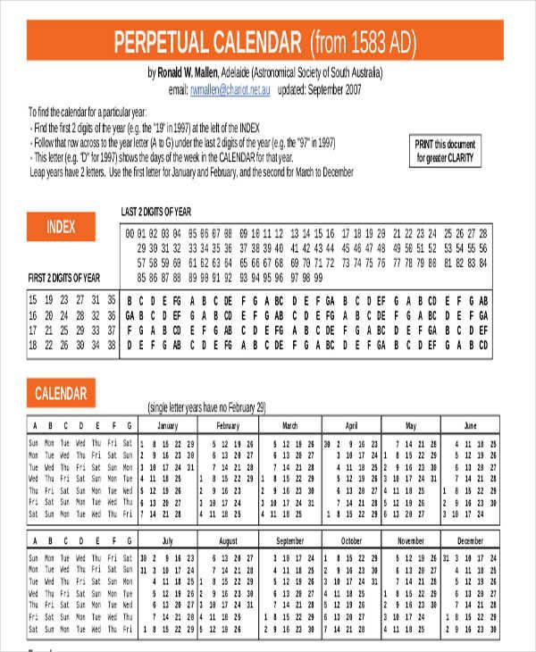 Free 8+ Perpetual Calendar Templates In Pdf