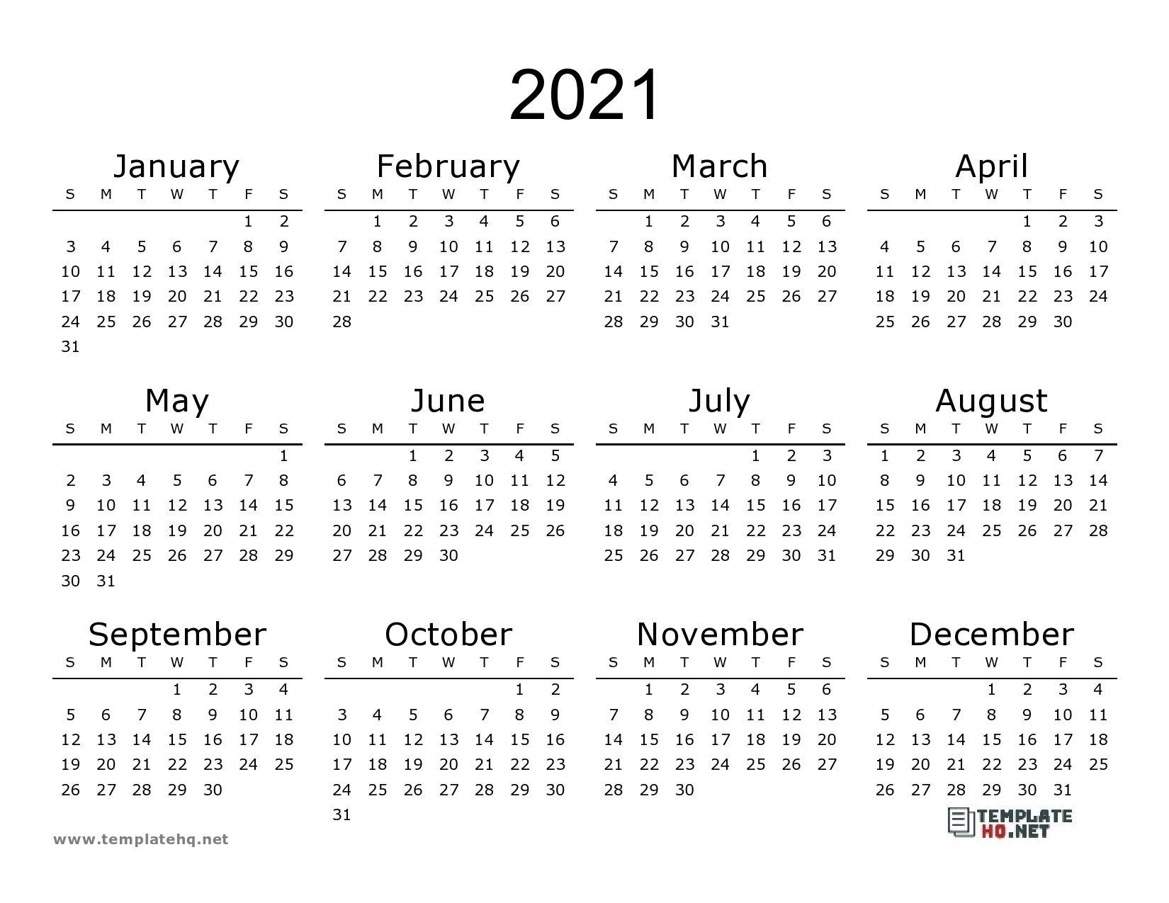 Free At A Glance 2021 Pdf 8.5 X 11 | Month Calendar Printable