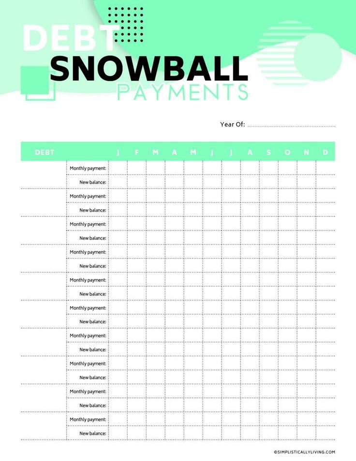 Free Debt Snowball Printable Worksheets | Simplistically