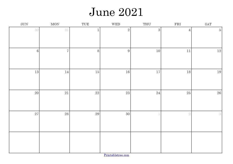 Free Download June 2021 Printable Calendar Templates Pdf