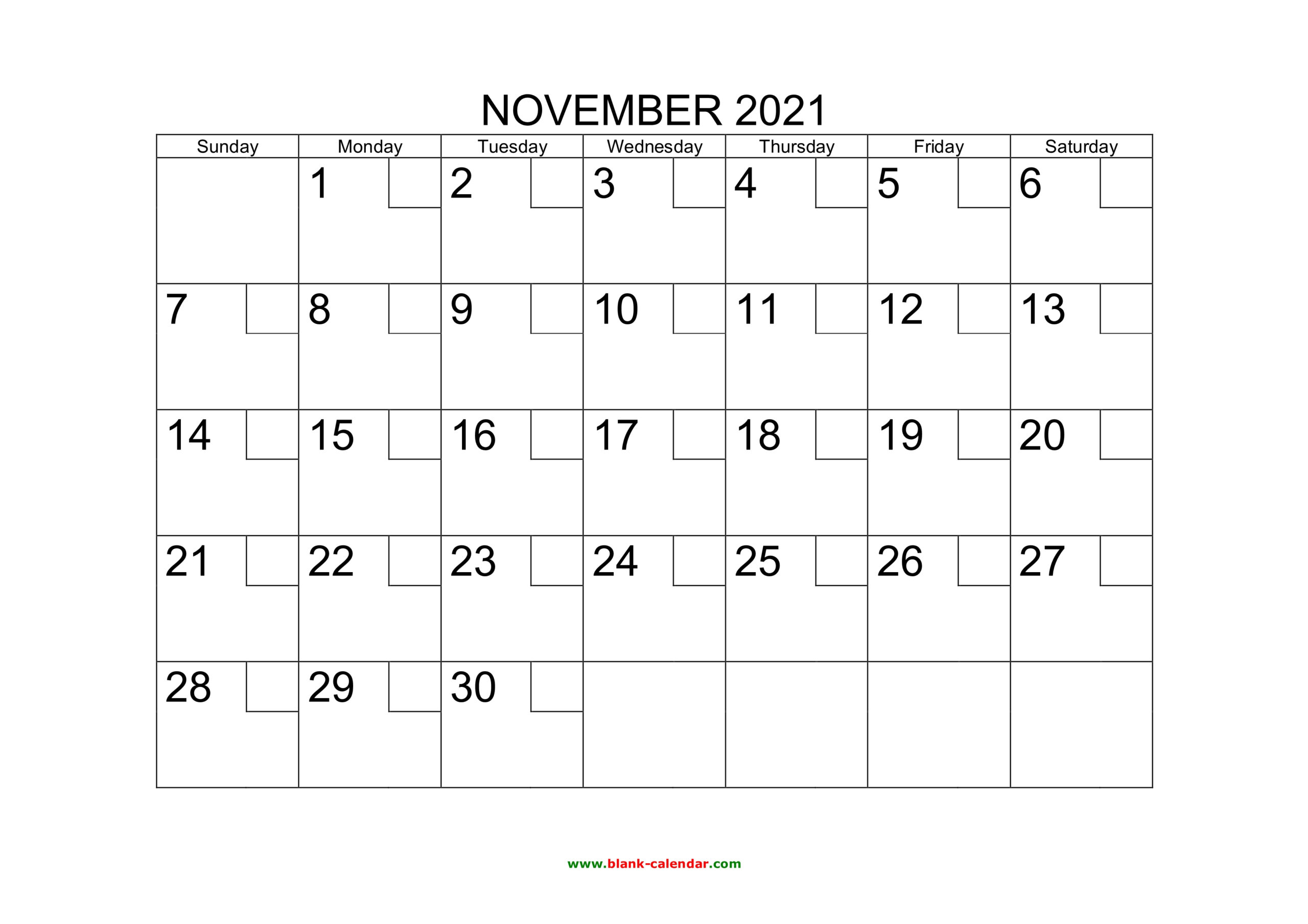 Free Download Printable November 2021 Calendar With Check