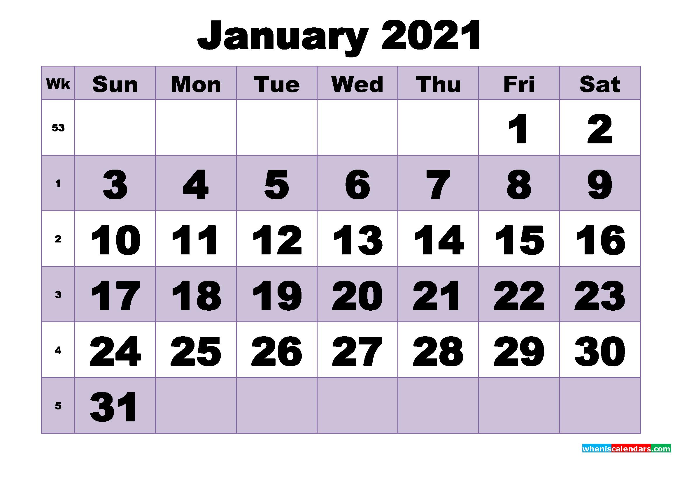 Free January 2021 Printable Monthly Calendar Template - Free Printable 2020 Monthly Calendar