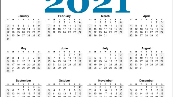 Free Monthly 2021 Printable Calendar Template