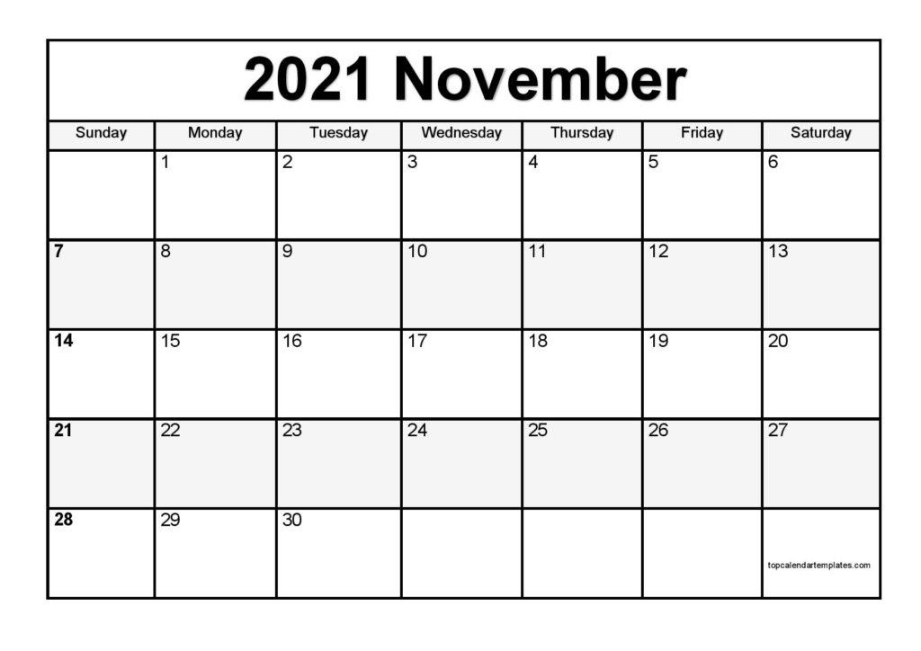 Free November 2021 Calendar Printable - Blank Templates