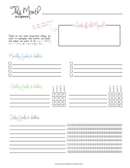 Free Planner Printable : Month At A Glance   Be Your Own