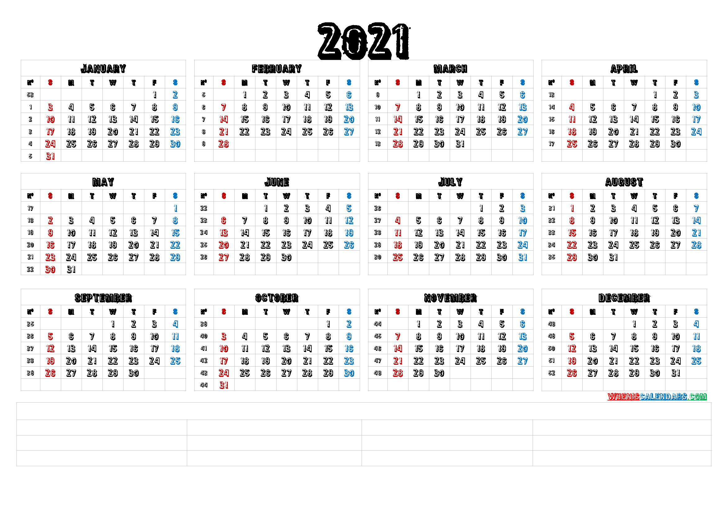 Free Printable 12 Month 2021 Calendar With Lines   Free
