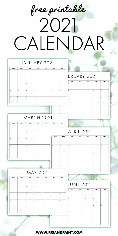 Free Printable 2021 Calendar - Sunday Start #Calendars