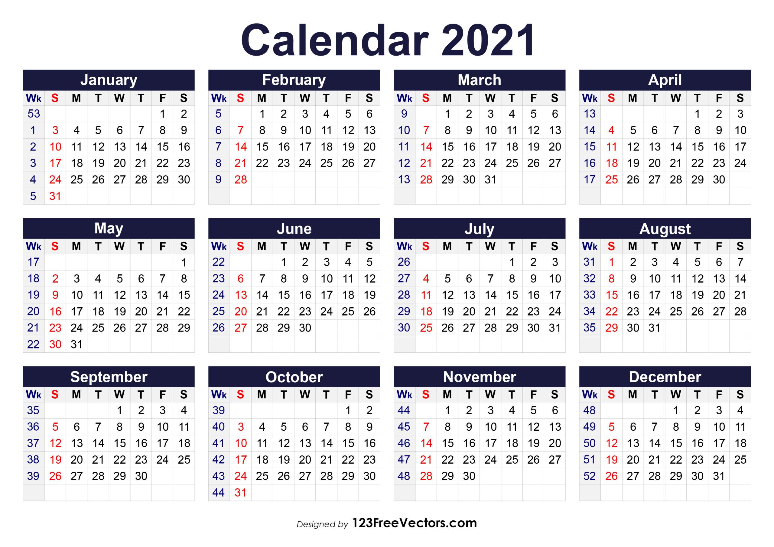 Free Printable 2021 Calendar With Week Numbers