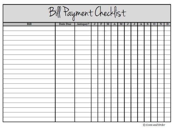 Free Printable Bill Payment Checklist   Bill Payment