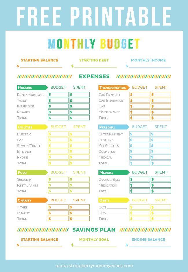 Free Printable Budget Worksheet   Room Surf