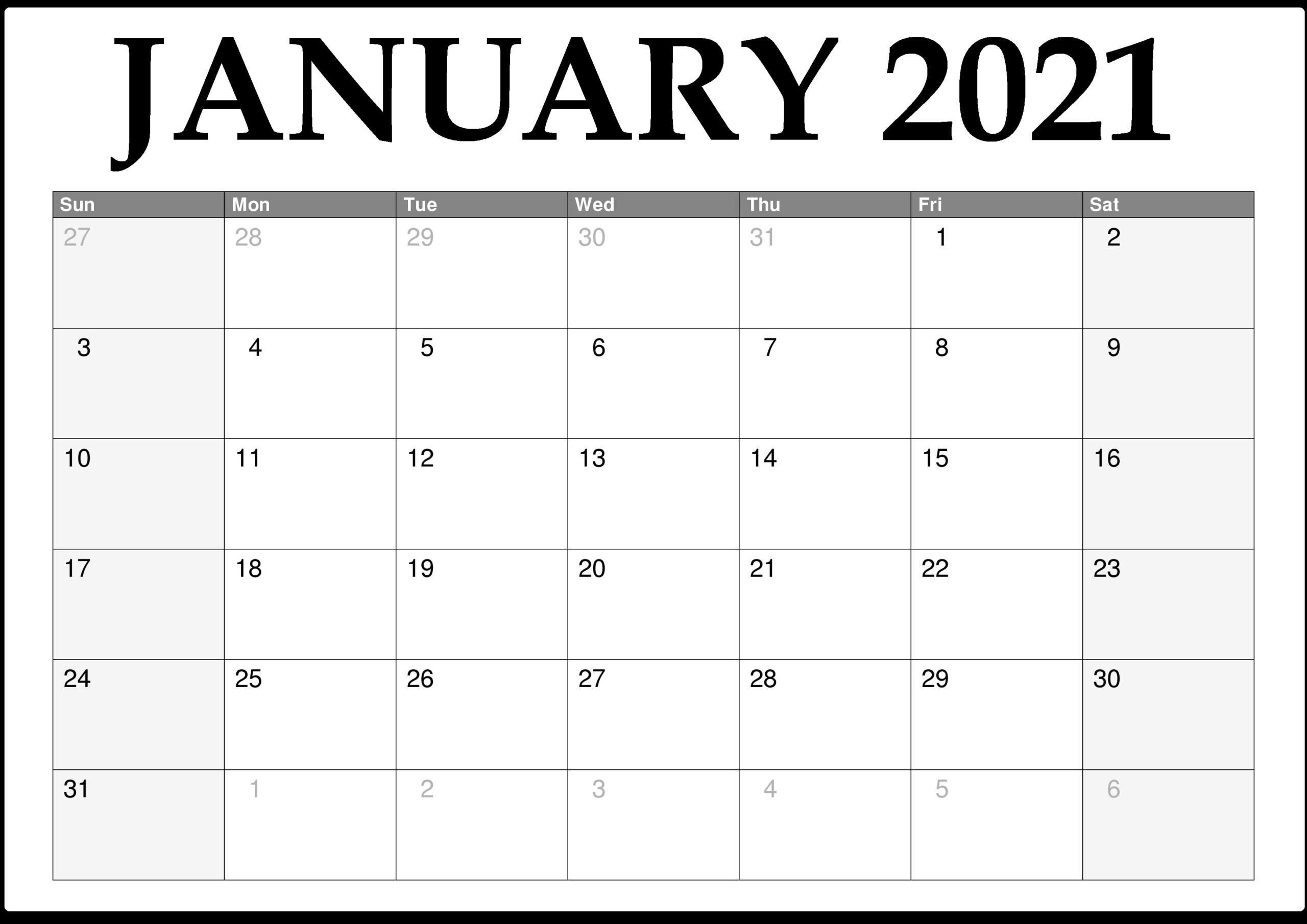 Free Printable January 2021 Calendar With Holidays - Free Printable Blank Holidays Calendar