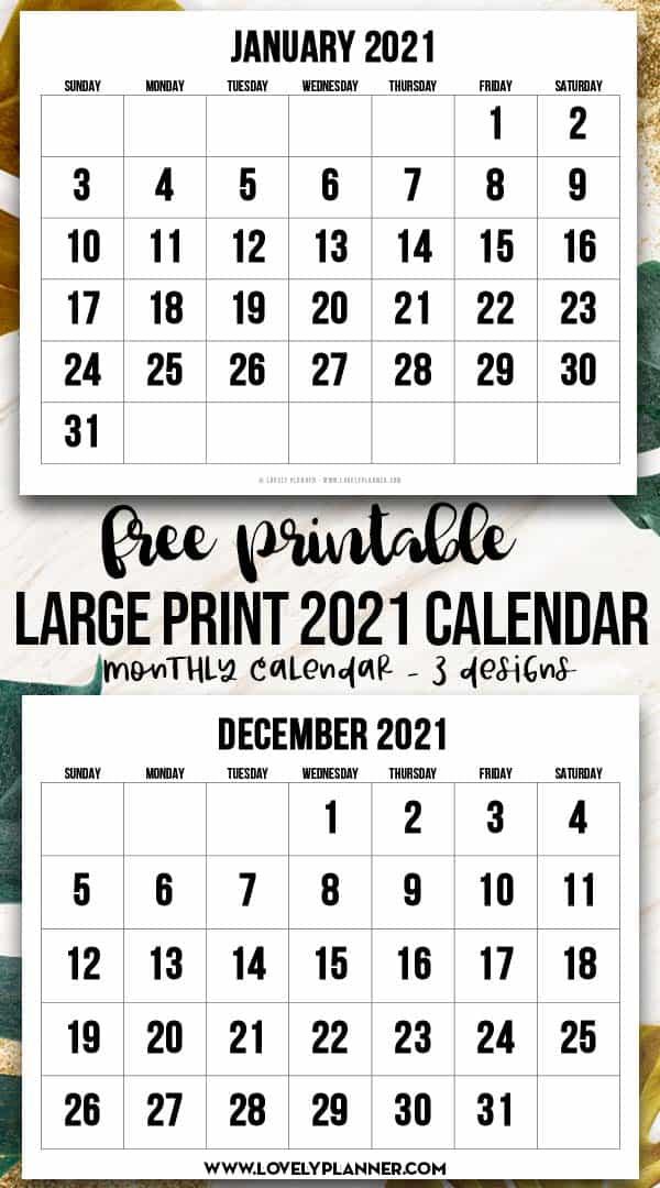 Free Printable Large Print 2021 Calendar - 12 Month