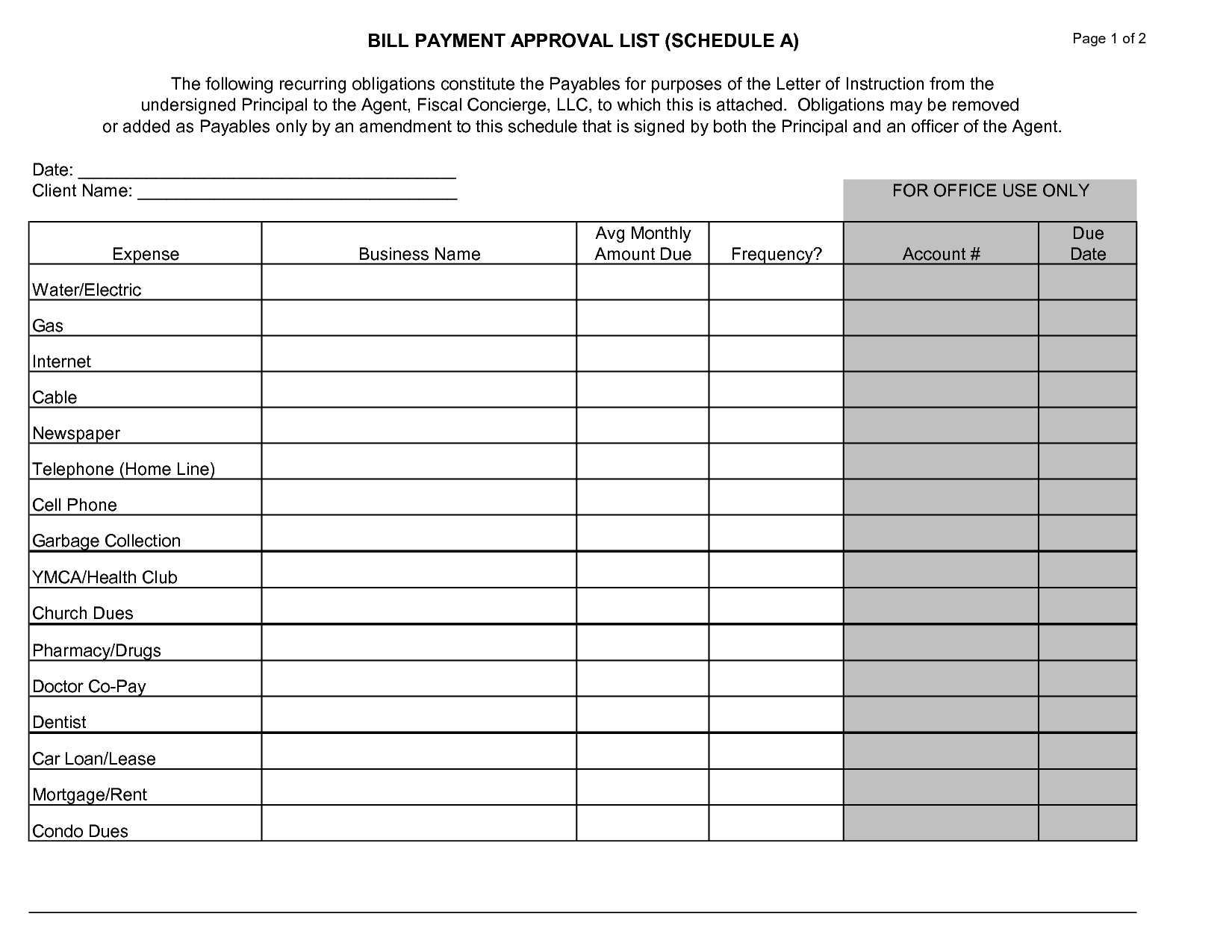 Free Printable Monthly Bill Payment Calendar - Template