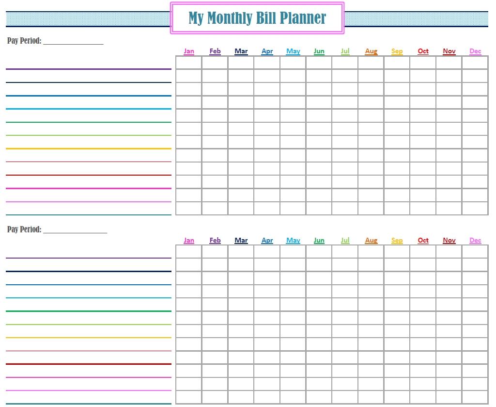 Free Printable Monthly Bills Chart | Calendar Template
