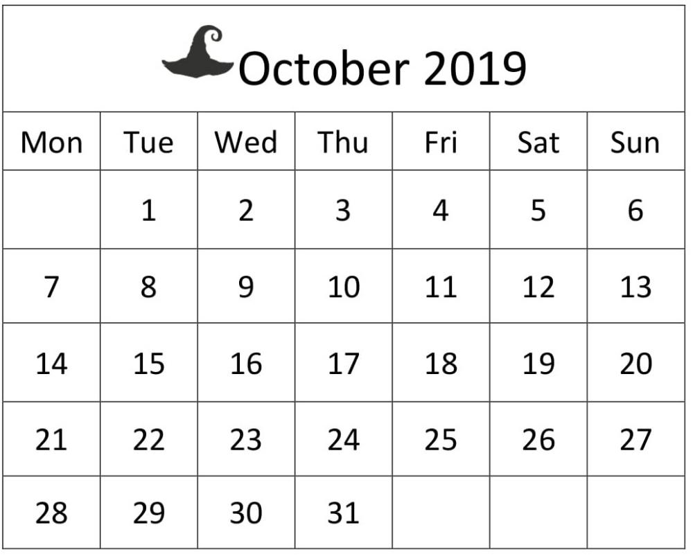 Free Printable October 2019 Calendar Large Print Sheet