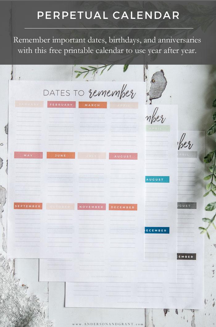 Free Printable Perpetual Calendar | Anderson+Grant