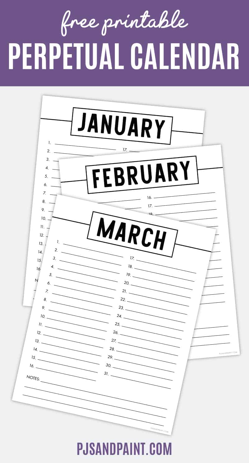 Free Printable Perpetual Calendar - Printable Birthday