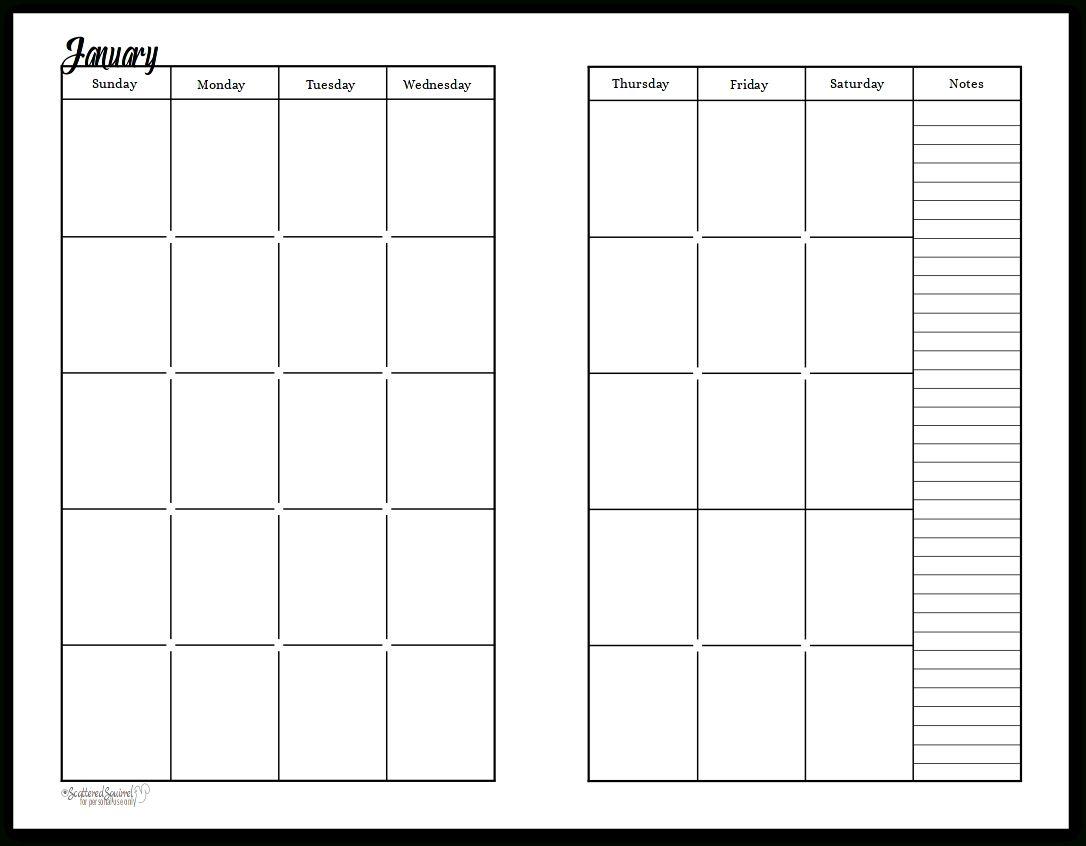 Free Printable Undated Calendar In 2020 | Planner Calendar