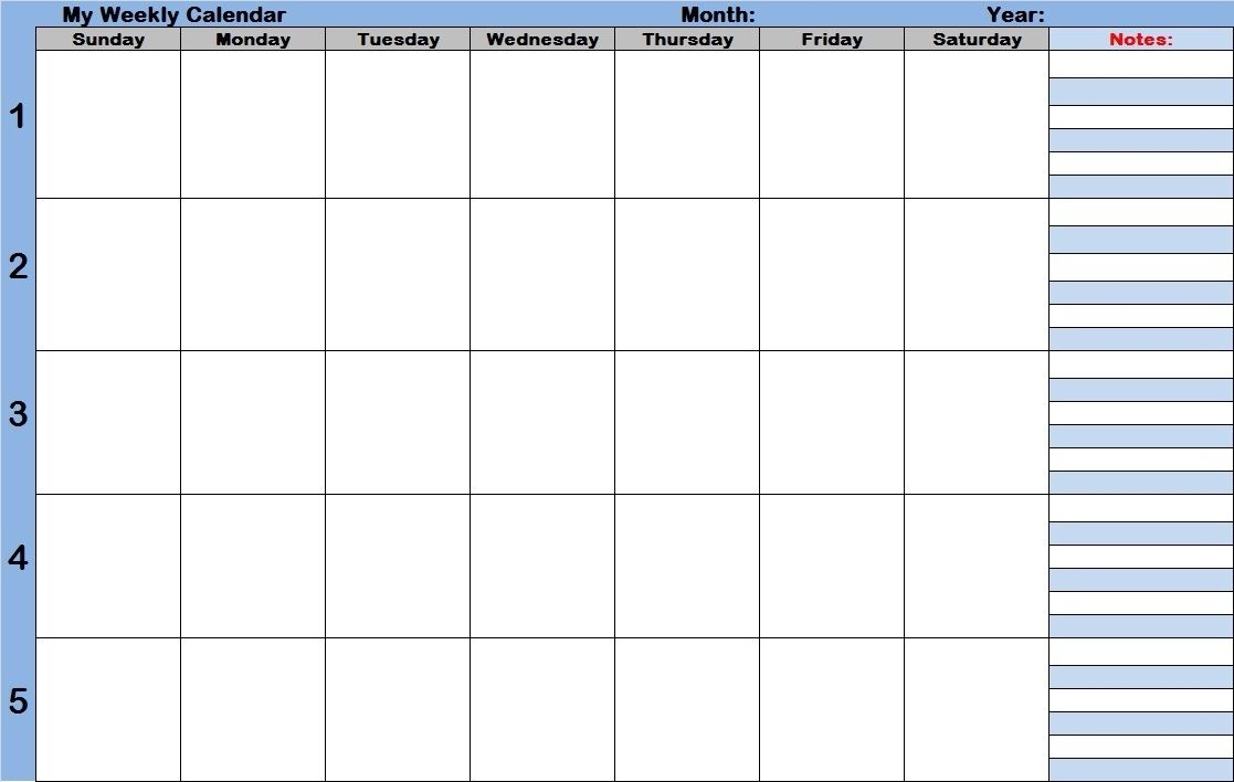 Free Printable Weekly Calendar With Time Slots In 2020