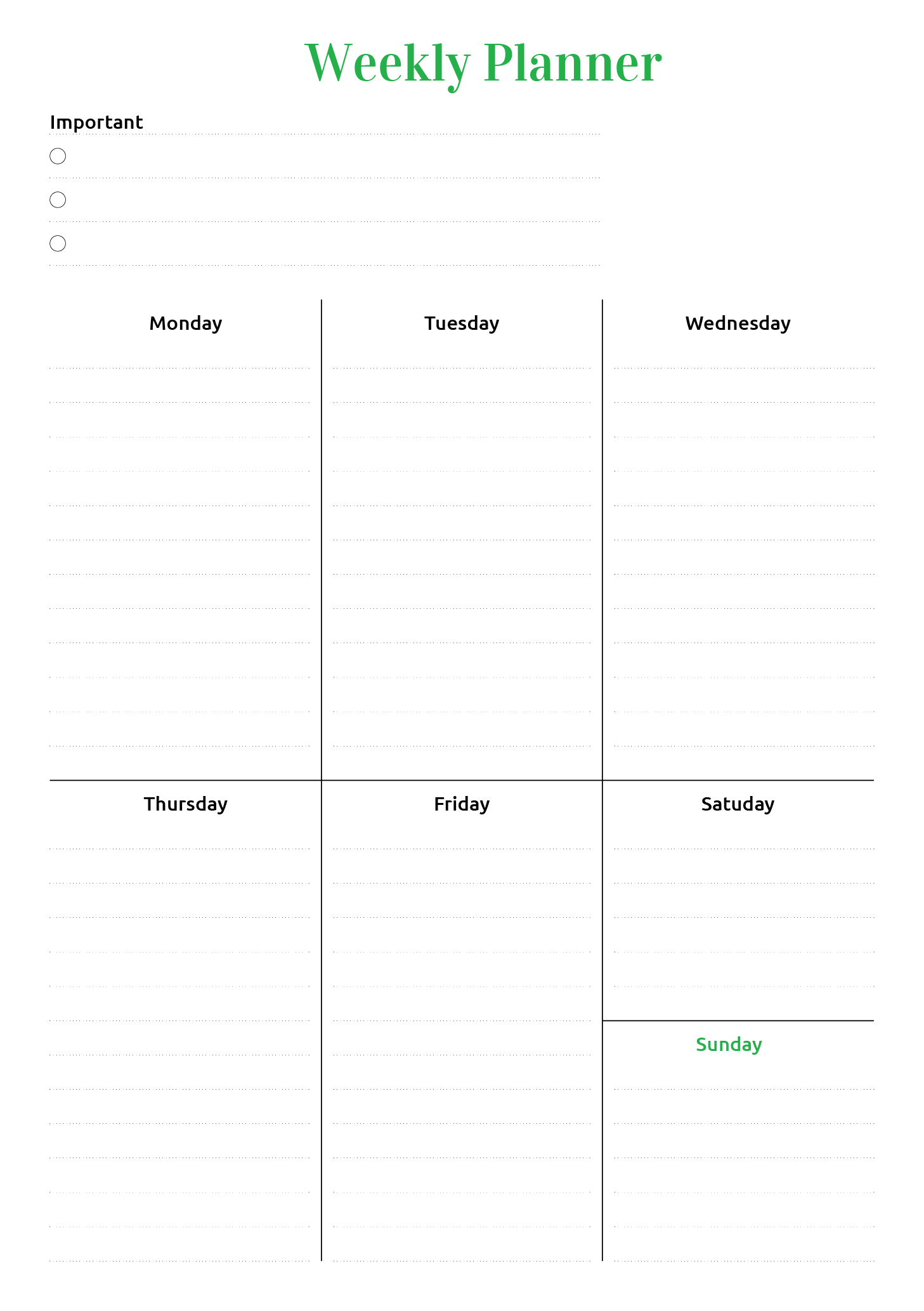 Free Printable Weekly Planner Sample Template In Pdf