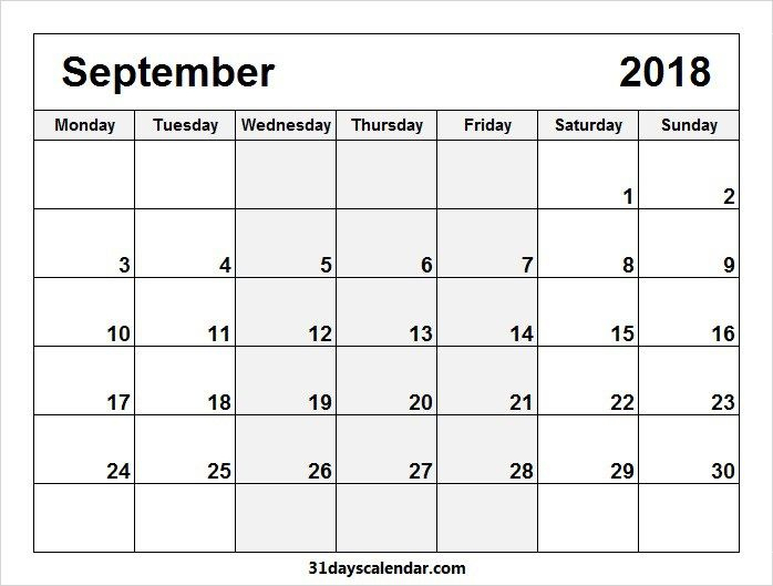 Free September 2018 Monday Start Image & Picture For