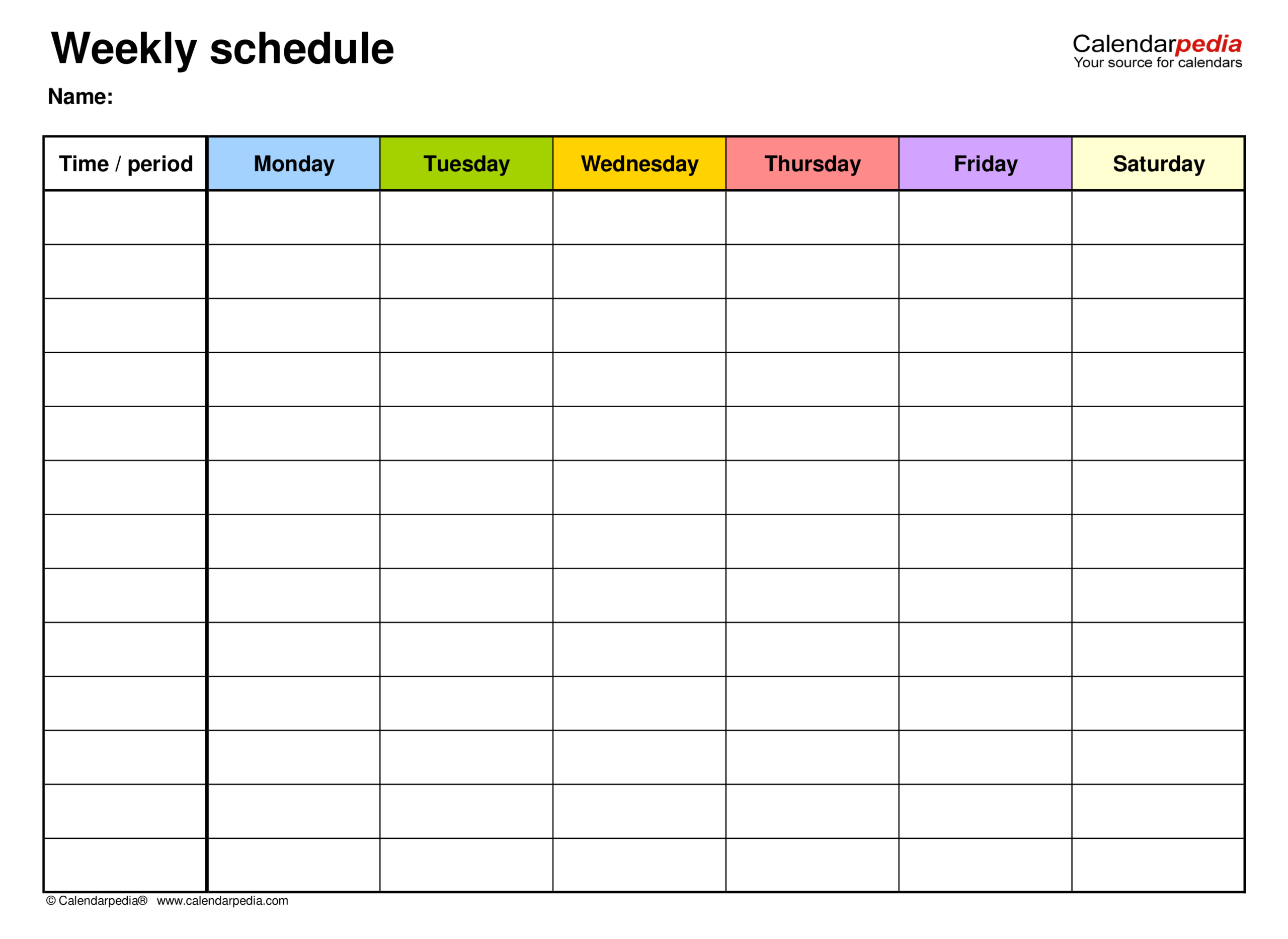 Free Weekly Schedules For Pdf - 18 Templates