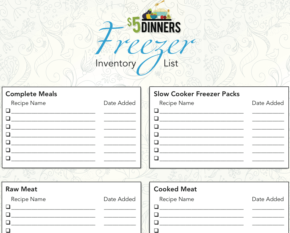 Freezer Cooking Printables - $5 Dinners | Recipes, Meal
