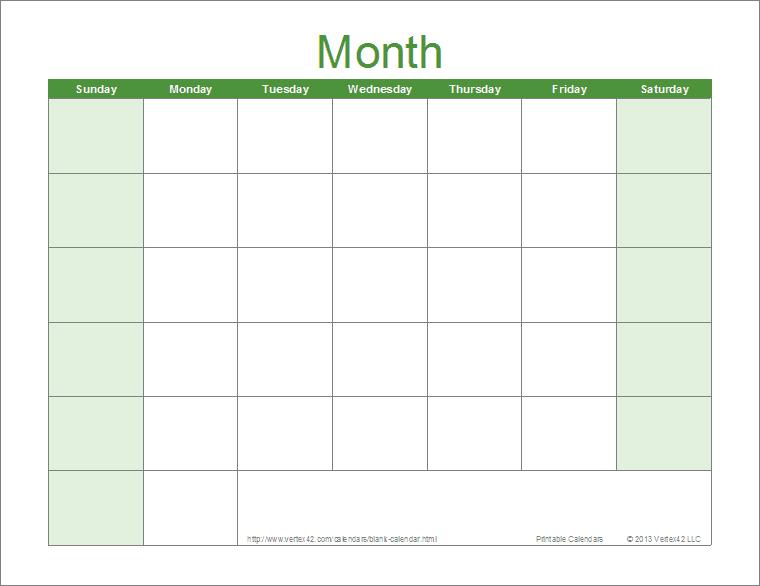 Full Page Blank Calendar Template | Blank Calendar