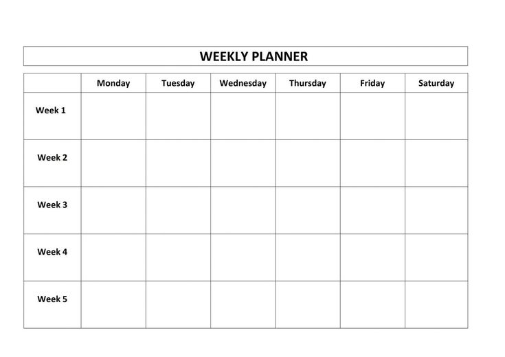 Get Monday Through Friday Blank Calendar Template | Blank