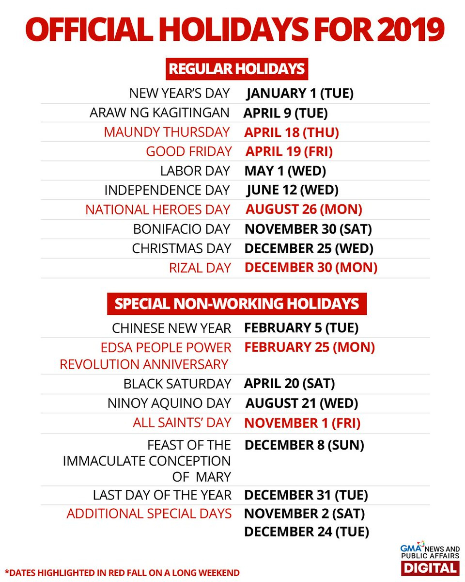"""Gma News On Twitter: """"List: Regular Holidays And Special"""