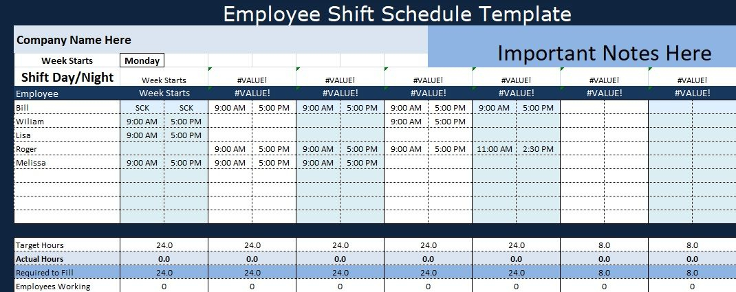 Guide To Use Employee Shift Schedule Template Excel