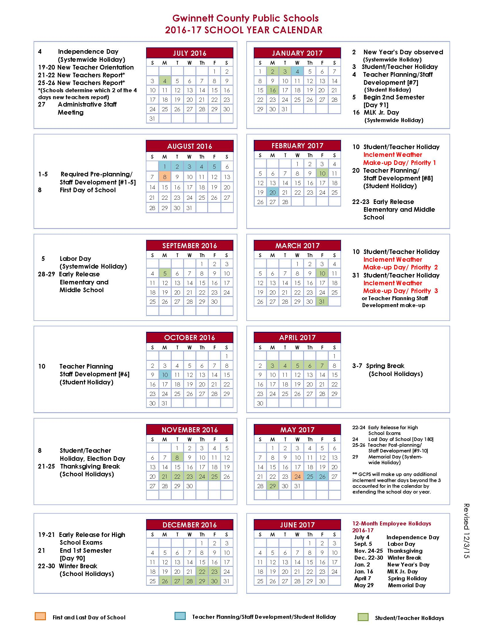Gwinnett County School Calendar 2016-2017   Nalley Ford