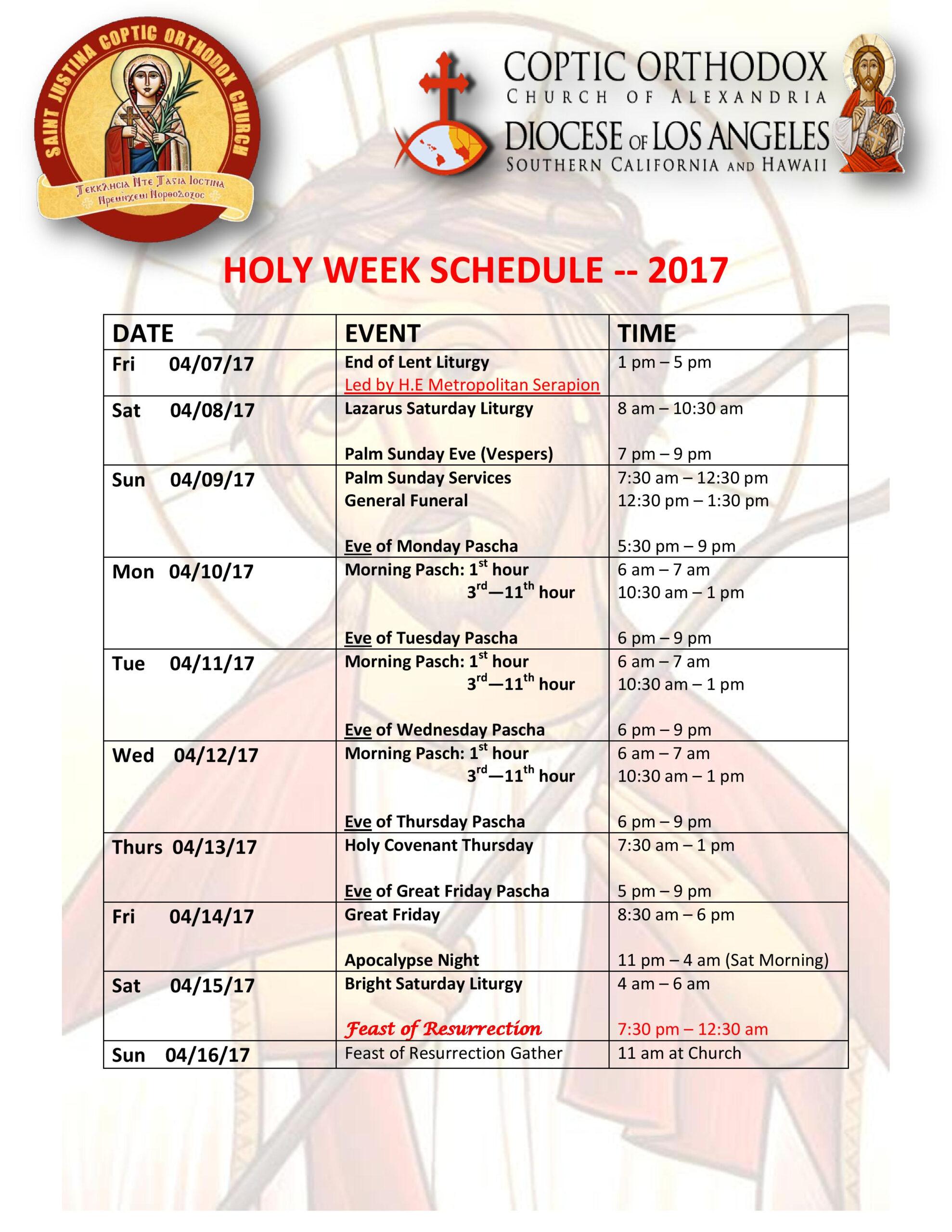 Holy Week Schedule 2017 - St Justina Coptic Orthodox Church