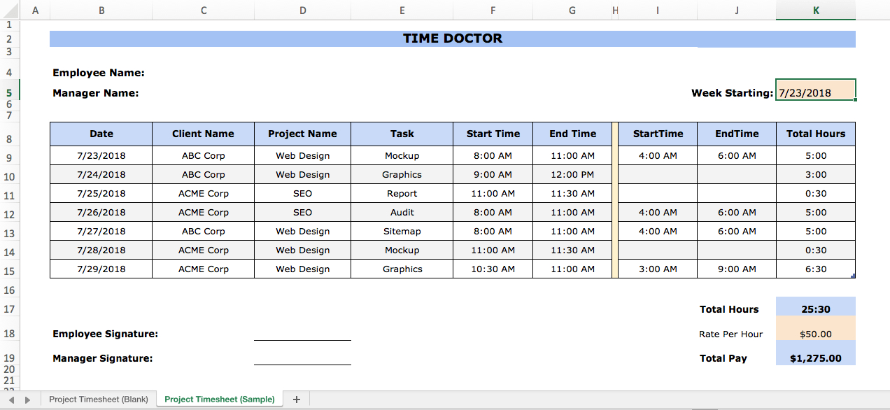 Hour Tracking Spreadsheet - Audreybraun