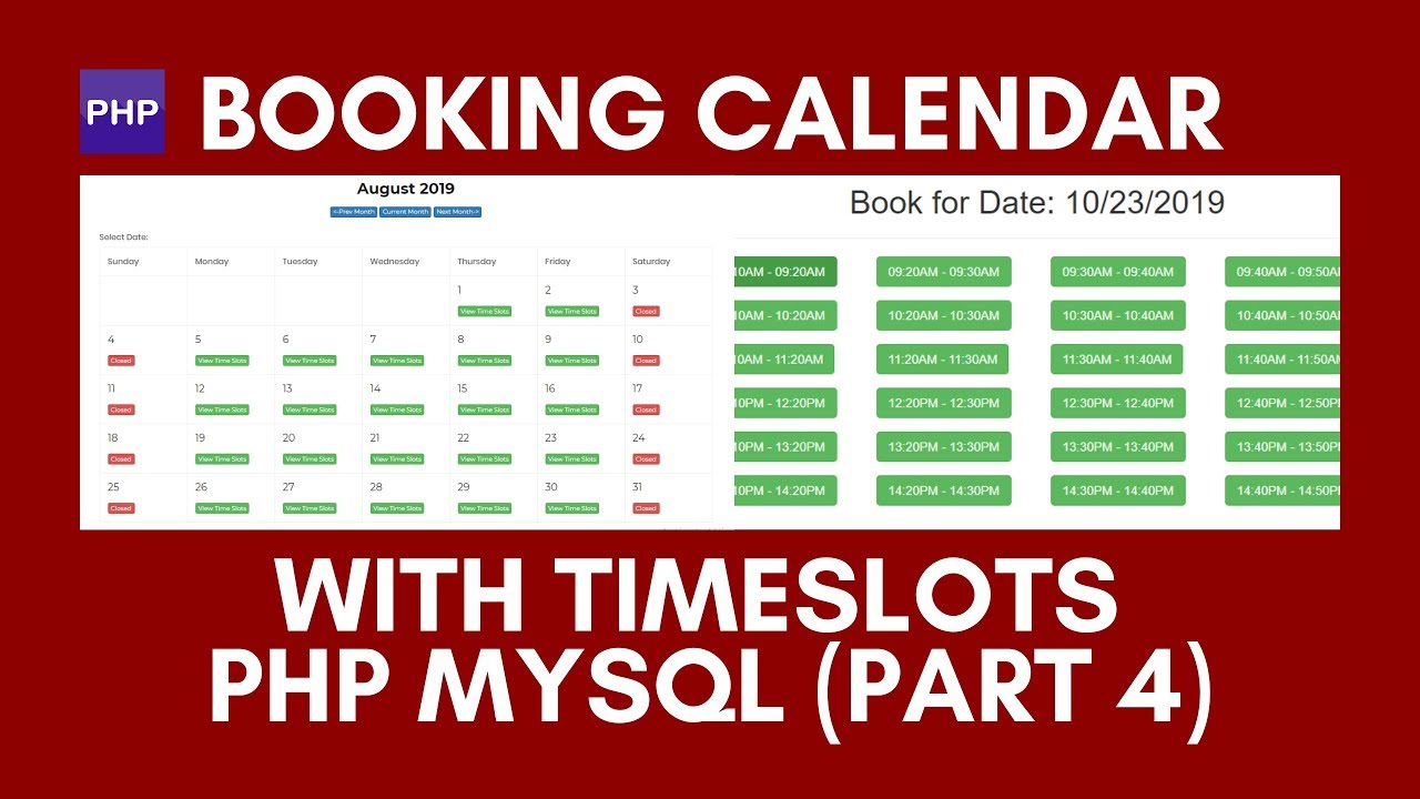 How To Create A Booking Calendar With Time Slots Php Mysql