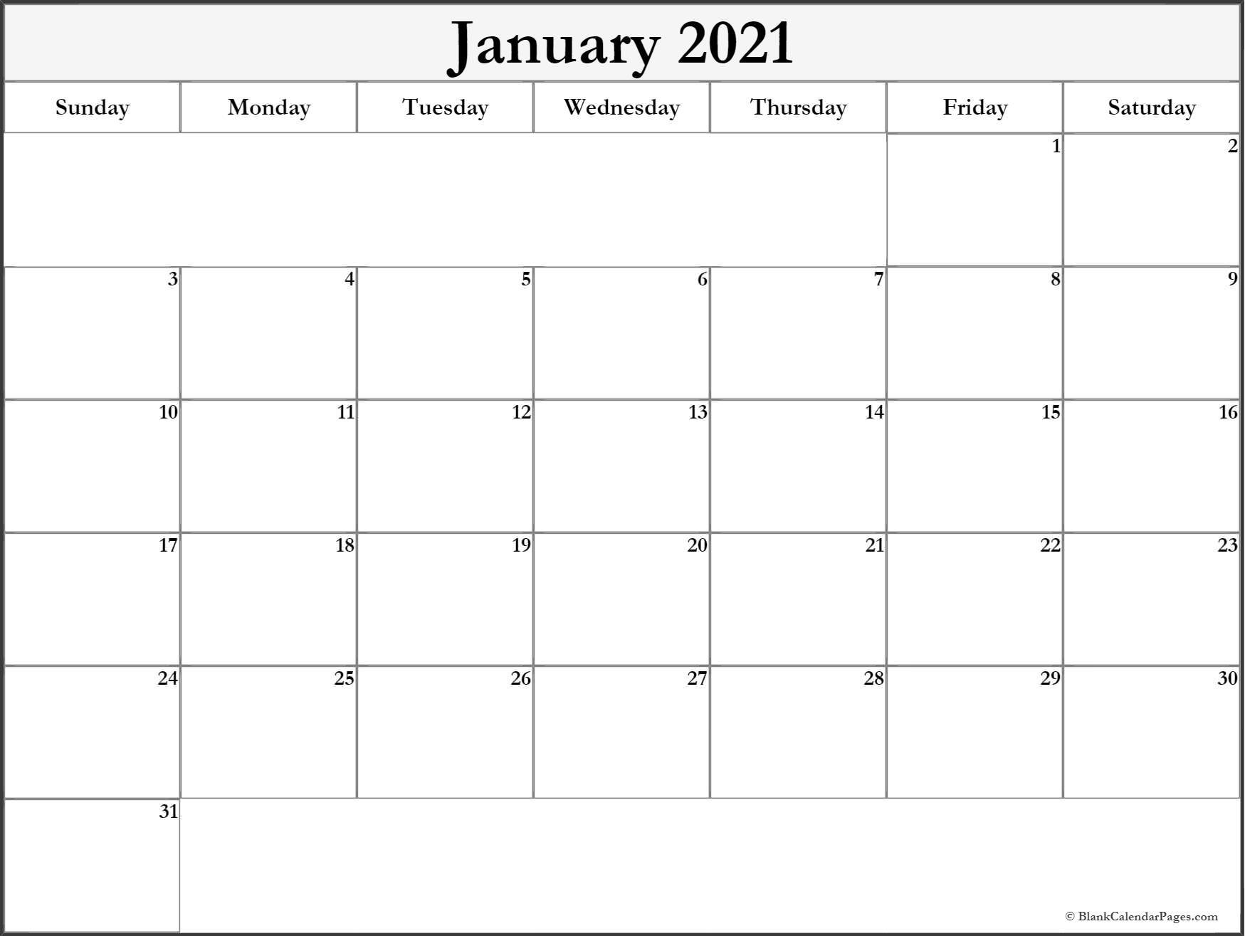 January 2021 Blank Calendar Templates.