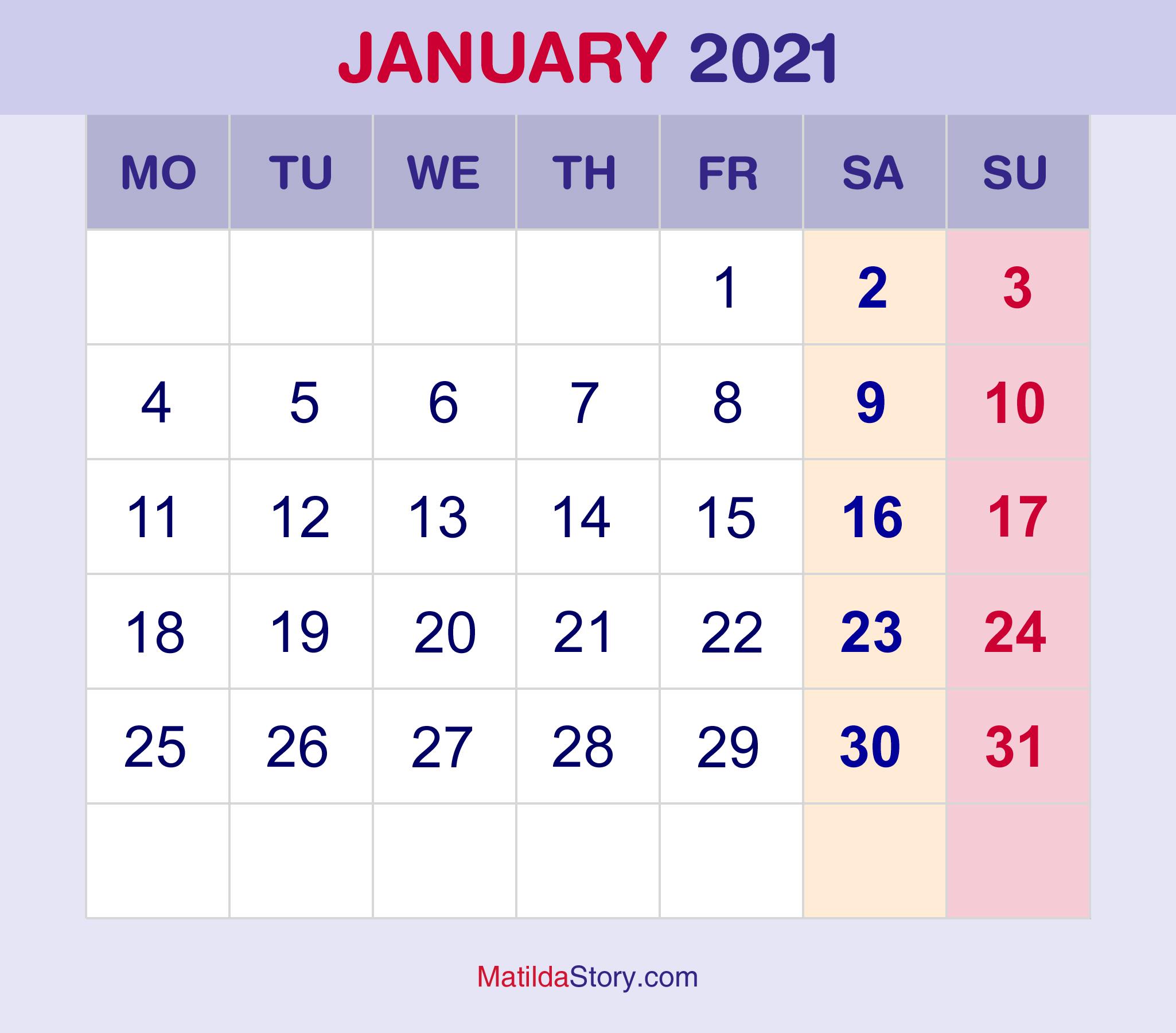 January 2021 Calendar Free Download : January 2021 Free