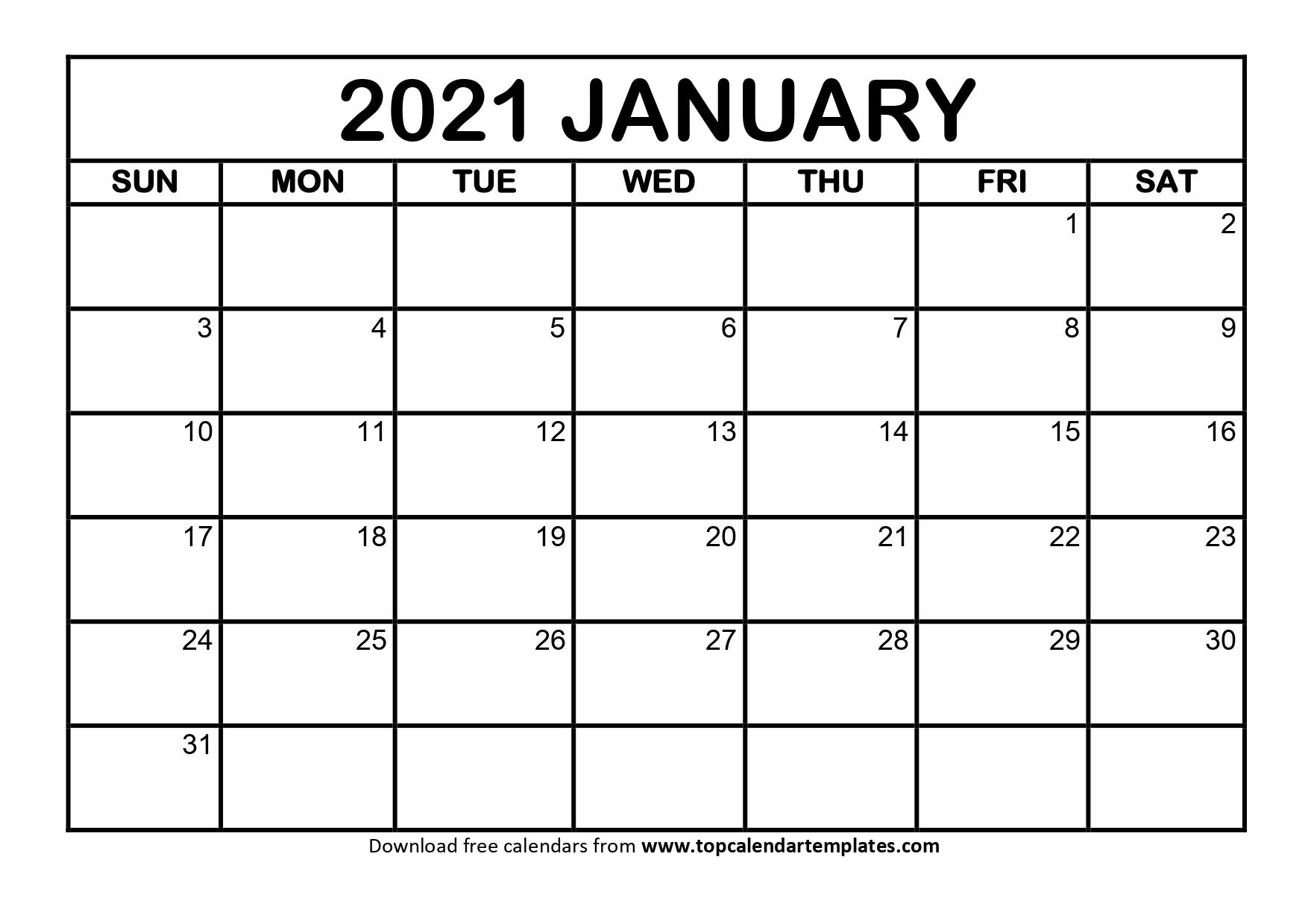 January 2021 Printable Calendar - Editable Templates