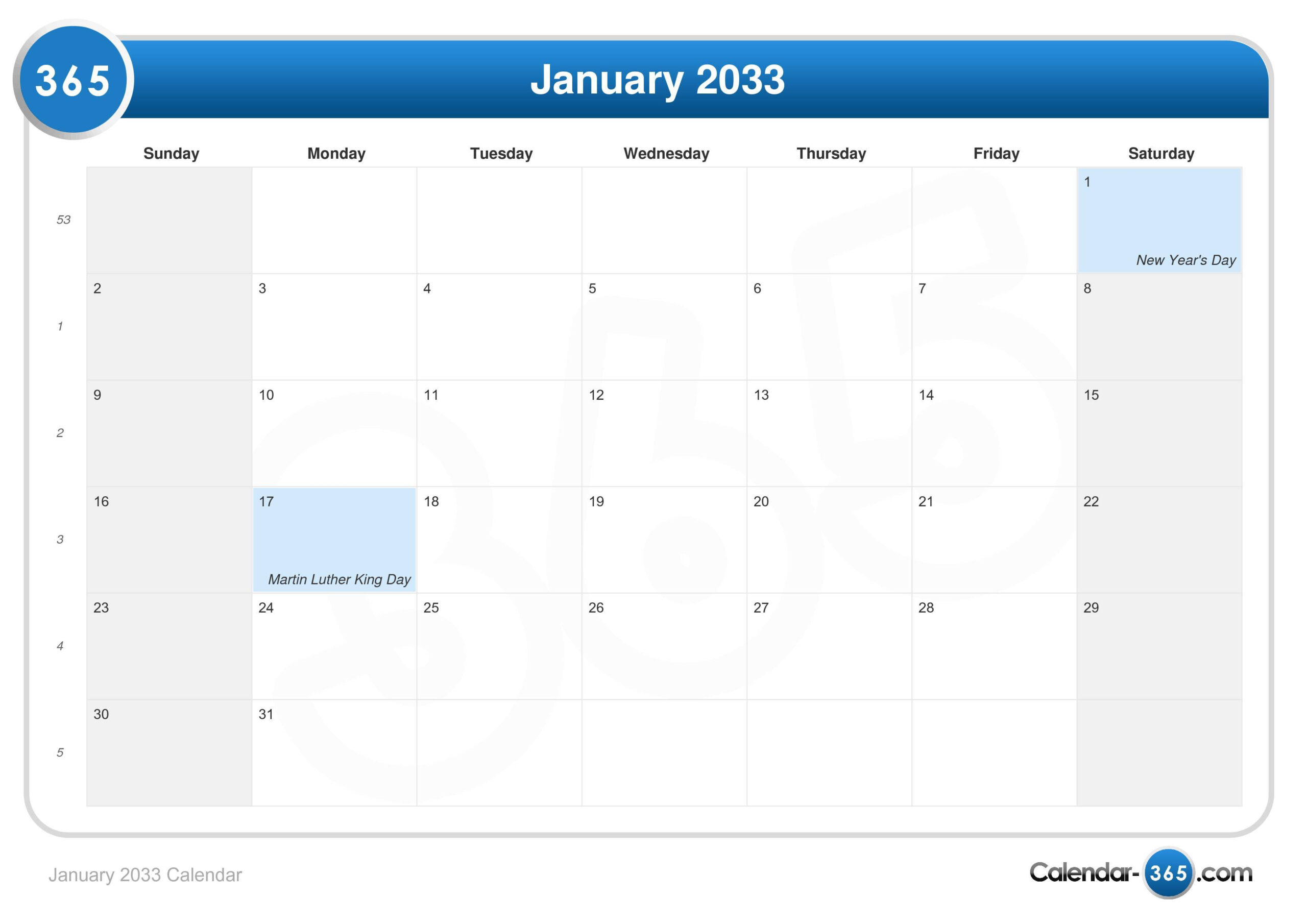 January 2033 Calendar