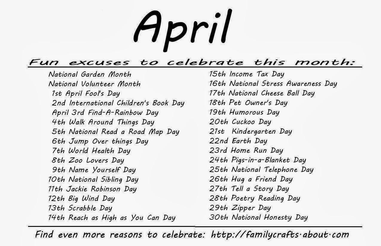 Kindergarten And Mooneyisms: Special Days - April