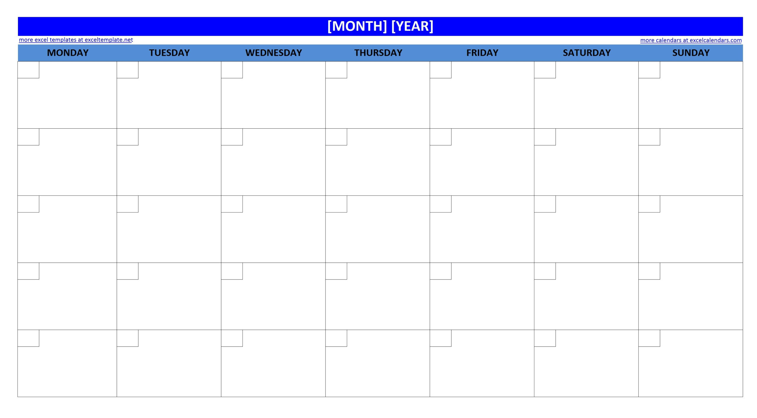 Large Box Grid Calendar Printable   Example Calendar Printable