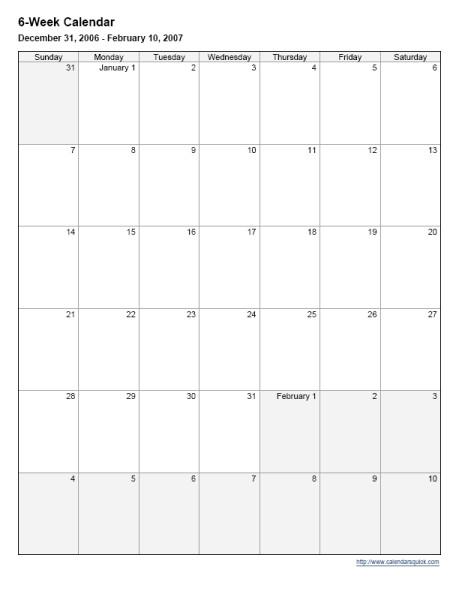 Lovely 6 Week Printable Calendar   Free Printable Calendar