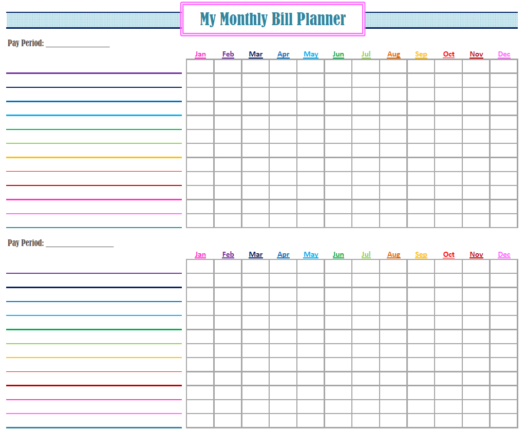 Make A Monthly Bill Chart | Example Calendar Printable