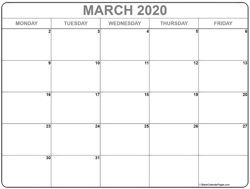 March 2020 Monday Calendar | Monday To Friday In 2020