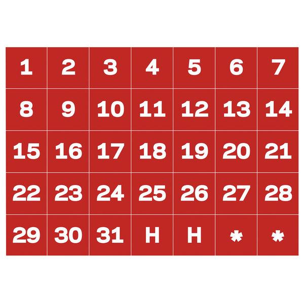 Mastervision Bvcfm1209 Calendar Dates (1-31) Red / White