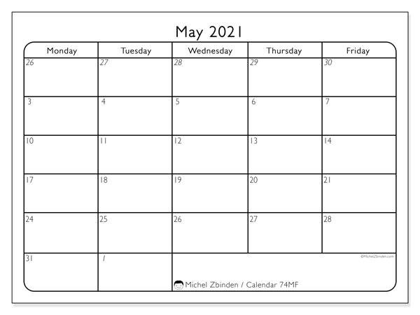 "May 2021 Calendars ""Monday - Sunday"" - Michel Zbinden En"