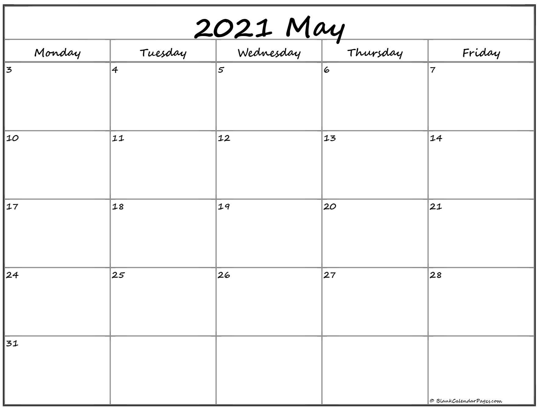 May 2021 Monday Calendar   Monday To Sunday