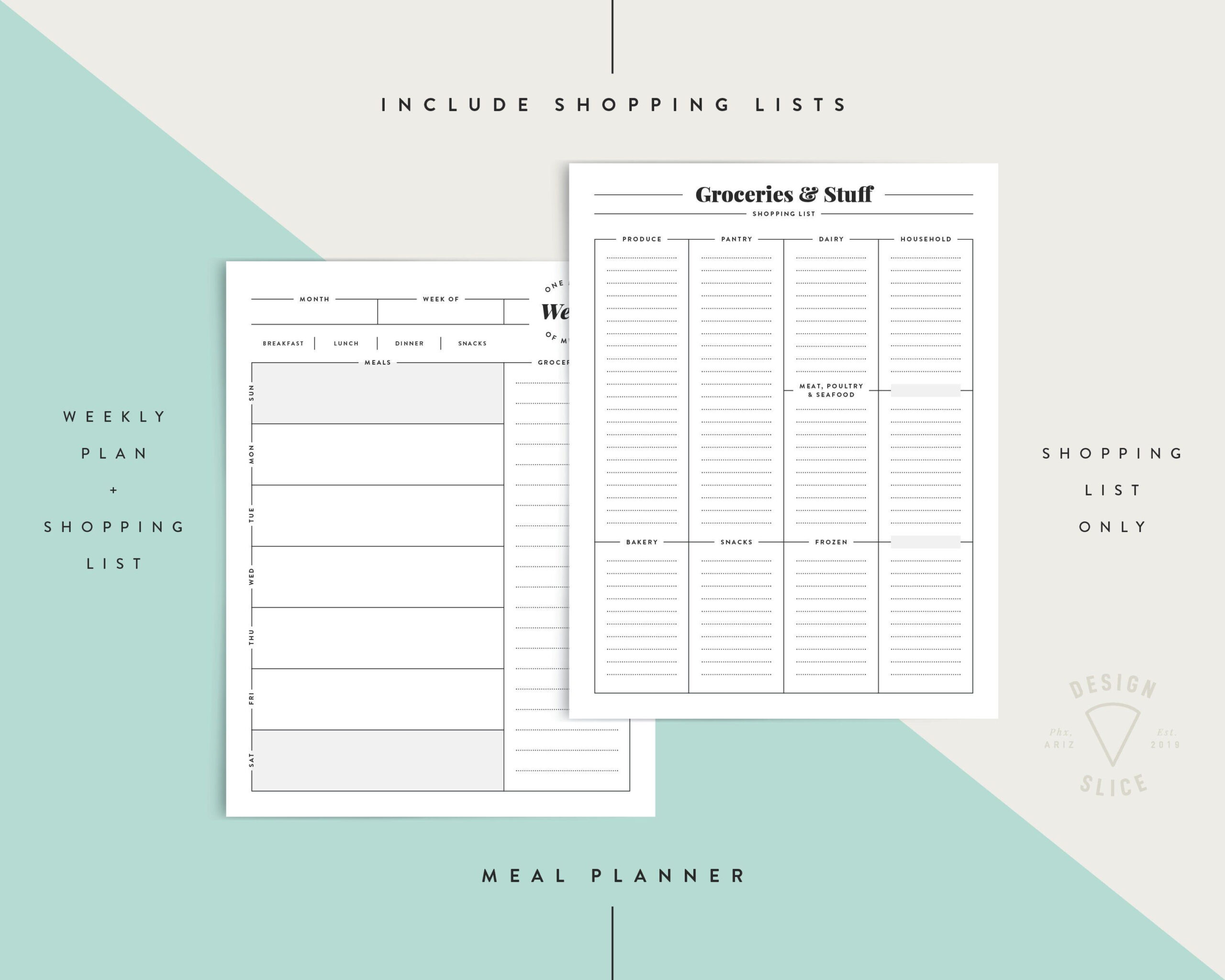 Meal Planner / Weekly & Monthly + Shopping Lists